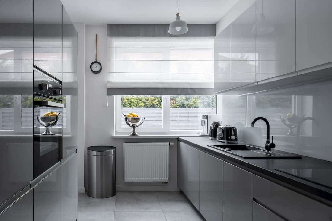 modern silver kitchen